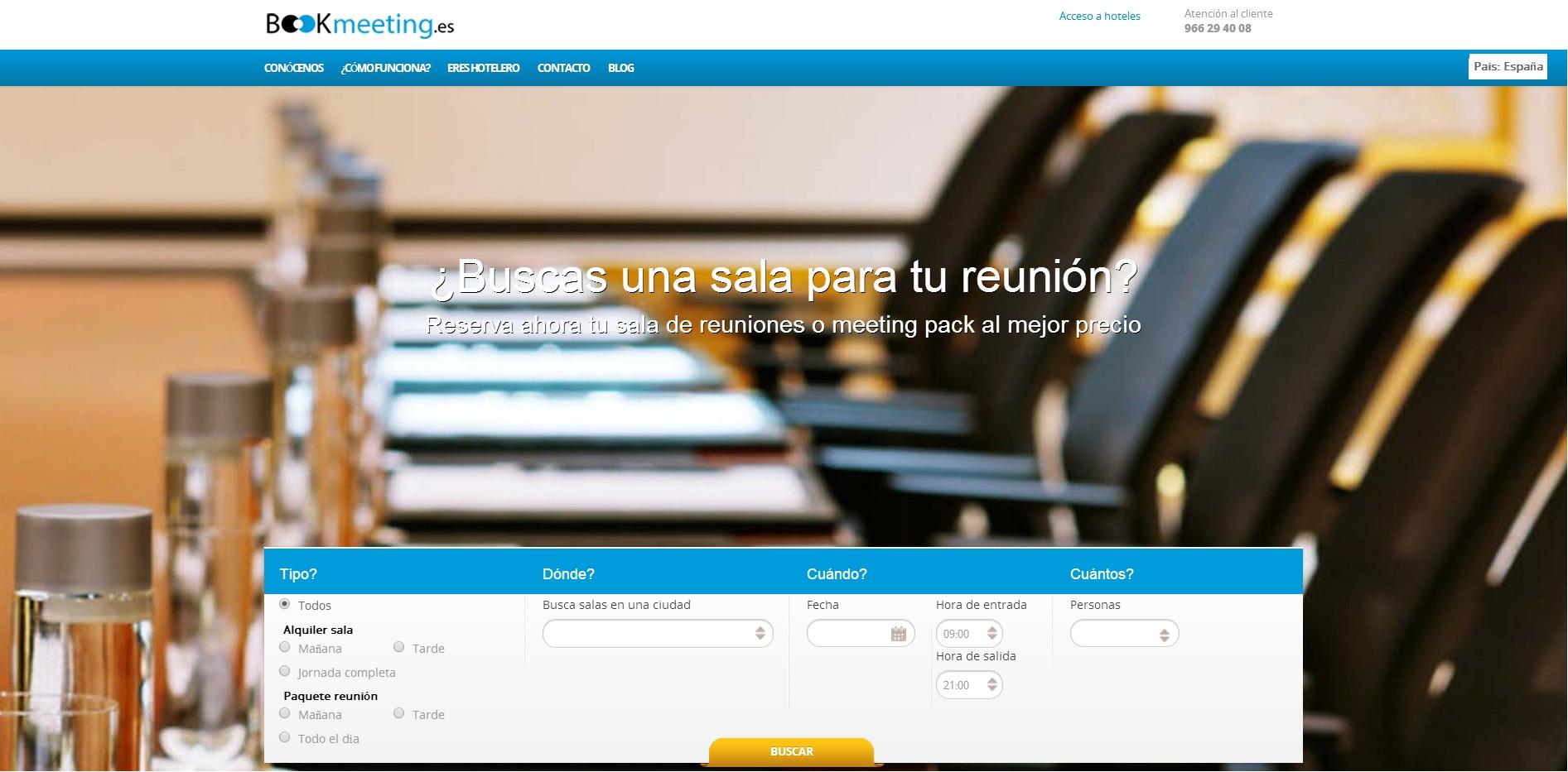 Bookmeeting - Plataforma Alquiler Salas de Reunion Hoteles